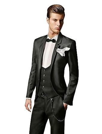 QZI Hombre Traje Slim Fit Notch Lapel Wedding Party Jacket Chaleco ...