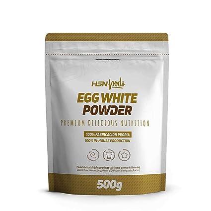 Clara de Huevo en Polvo de HSN Foods, 100% Proteína Natural sin Grasas, sin Colesterol, Sin Gluten, Sin Lactosa, Sin Sabor, 500 gr