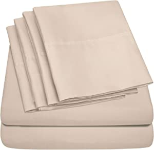 King Size Bed Sheets - 6 Piece 1500 Thread Count Fine Brushed Microfiber Deep Pocket King Sheet Set Bedding - 2 Extra Pillow Cases, Great Value, King, Beige