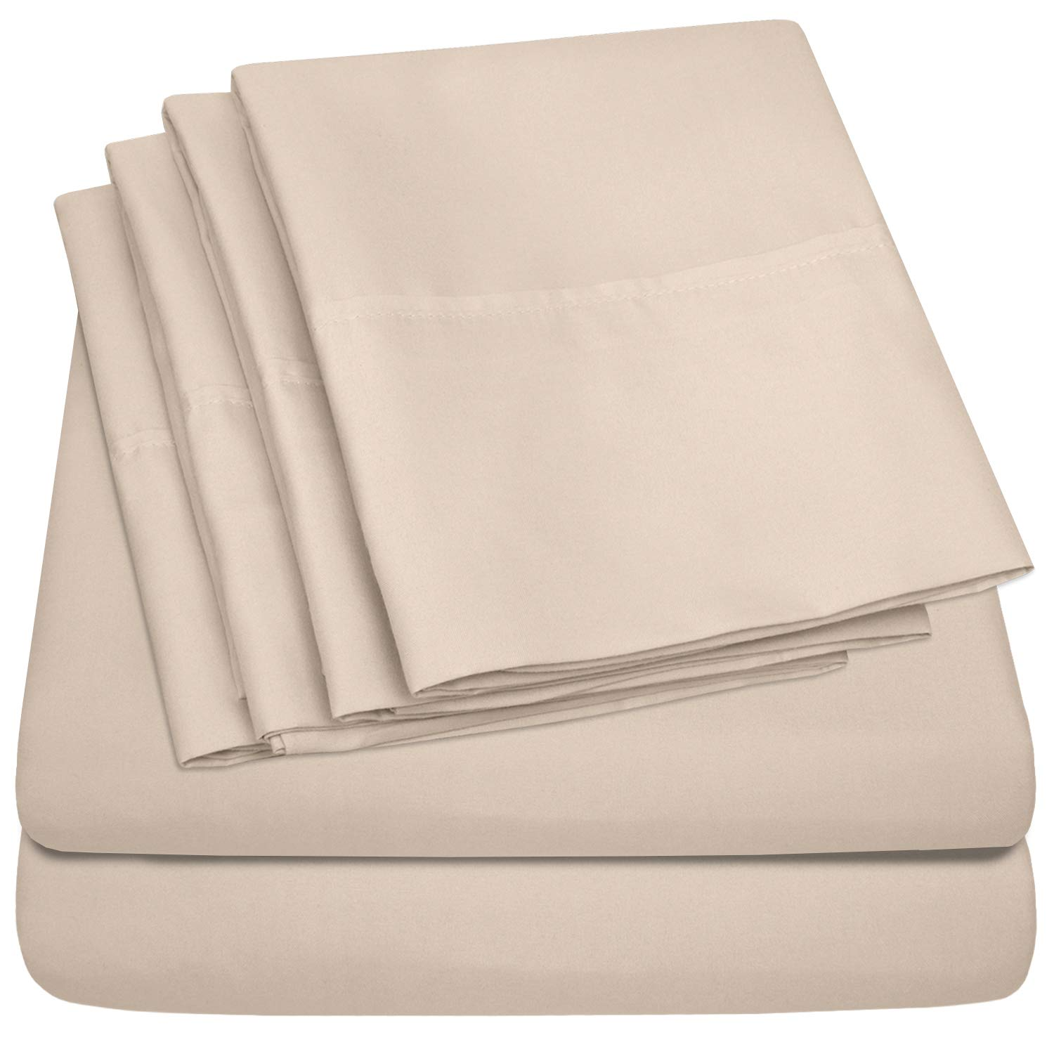 Sweet Home Collection Size 4 Piece 1500 Thread Count Fine Brushed Microfiber Deep Pocket Twin Sheet Set Bedding-1 EXTRA PILLOW CASES, VALUE, Beige