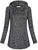 Nomorer Running Shirts for Women, Ladies Activewear Casual Lightweight Yoga Daily Wear Holiday Loose Fit Jersey Fall Blouses Active Hoody Shirt (Black, X-Large)