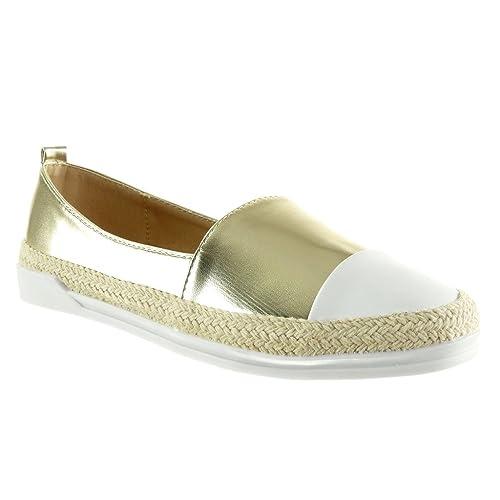 Angkorly - Zapatillas Moda Alpargatas Mocasines Slip-on Suela de Zapatillas Mujer Cuerda Brillantes Talón tacón Plano 3 CM: Amazon.es: Zapatos y ...
