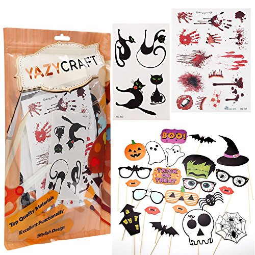 Costumes Tattoos (Halloween Party Favors (22 Pieces) and Temporary Costume Tattoos / Skin Stickers [Black Cat Set (1) / Bloody Set (1))