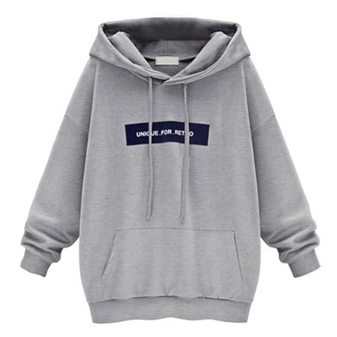 Lenfesh Otoño Invierno Sweatshirt con capucha,Blusas Sudaderas manga larga Encapuchado Camisetas Basicas Para Mujer