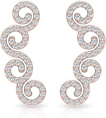 Citrine Earrings For Women Diamond Helix Piercing Baguette Citrine Cartilage Piercing Ear Climber Curved Earrings