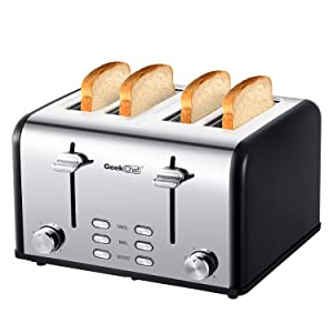 Geek Chef 4-Slice Toaster Stainless Steel Extra-Wide Slot Toaster with Dual Control Panels of Bagel, Defrost, Cancel Function, 6 Toasting Bread Shade Settings, Removable Crumb Trays, Auto Pop-Up