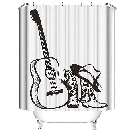 Dibujo A Lápiz. Guitarra Botas Vaqueras Sombrero. Cortina De Ducha ...