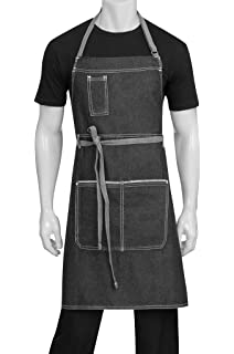 Professional Chef Apron - Grey with Black