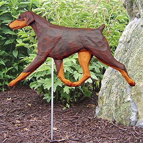 Ky & Co YesKela Doberman Pinscher Outdoor Garden Sign Hand Painted Figure Red/Tan Uncropped