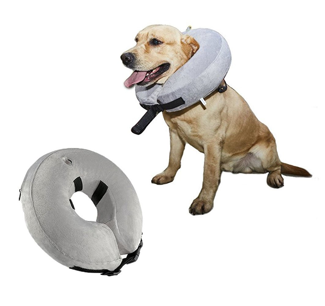 Yizepet Protective Inflatable Dog Collar with Free Inflator, Soft Pet Recovery E-Collar Cone to Prevent Pets From Touching Stitches for Large Dogs(Neck Circumference 12'' - 18'')
