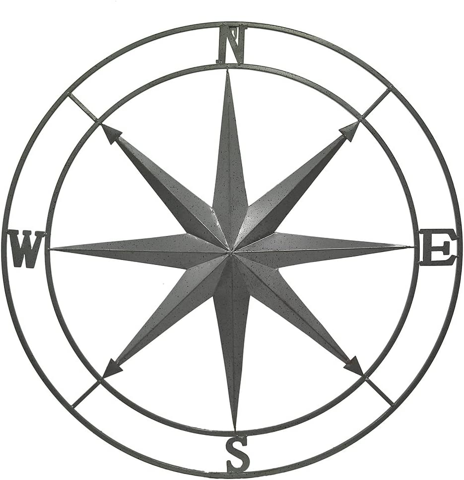 Zeckos Galvanized Zinc Finish Metal Indoor/Outdoor Compass Rose Wall Hanging 36 in.