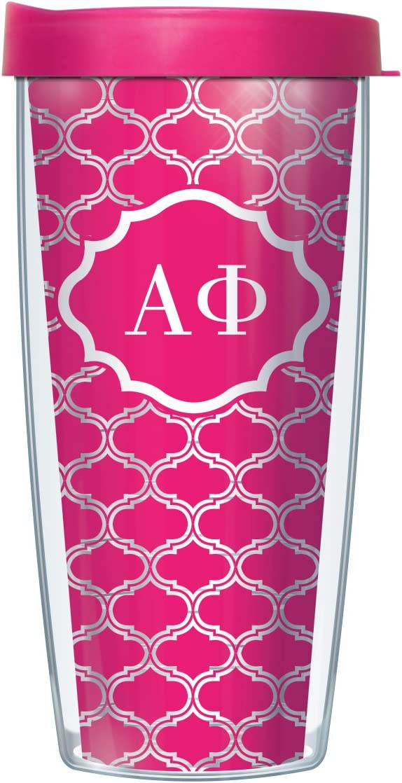 Signature Tumblers Alpha Phi Insignia Wrap on Hot Pink and White Duofoil 16 Ounce Double-Walled Travel Tumbler Mug with Hot Pink Easy Sip Lid
