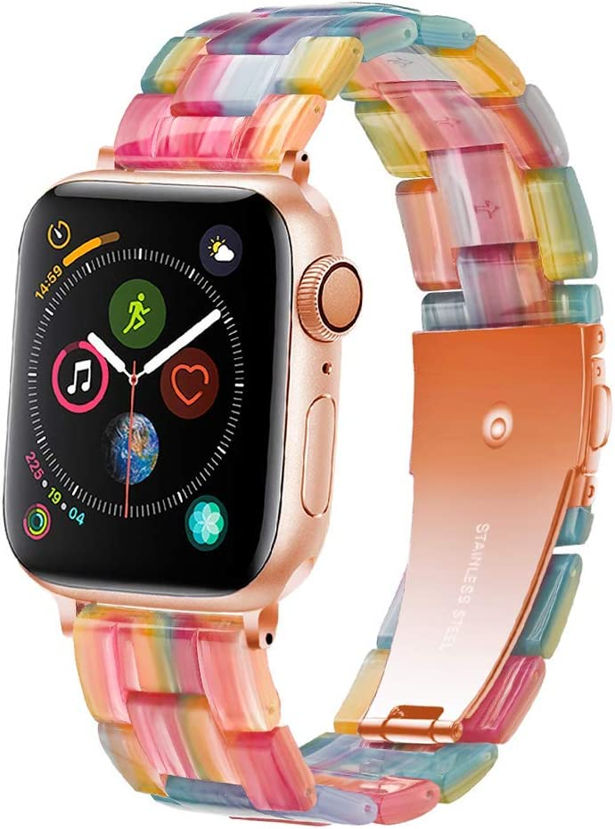 Light Apple Watch Band - Fashion Resin iWatch Band Bracelet Compatible with Copper Stainless Steel Buckle for Apple Watch Series SE Series 6 Series 5 Series 4 Series 3 Series 2 Series1 (Rainbow, 38mm/40mm)