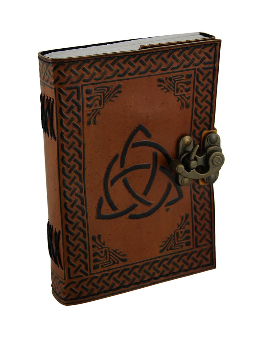 Triquetra Two-Tone Brown Embossed Leather Bound Journal 5x7 in.