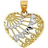 14k Two Tone Gold Filigree Heart Pendant