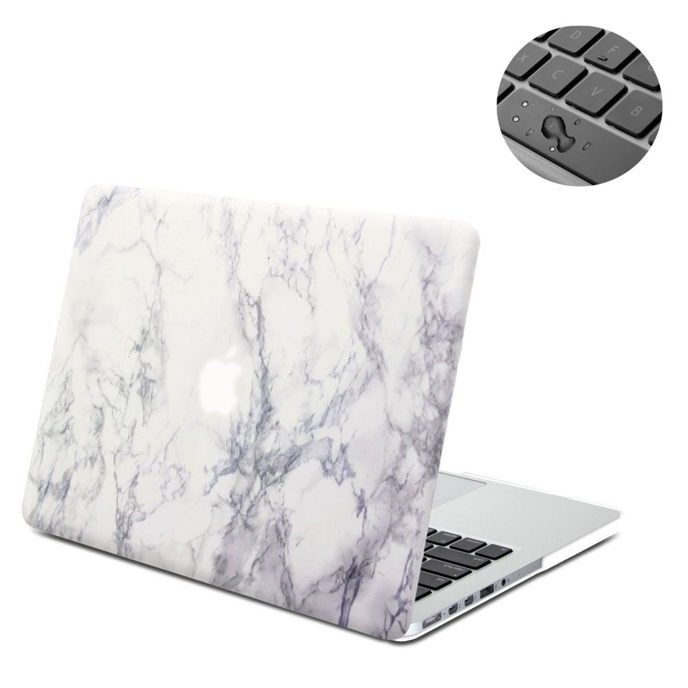 Macbook Retina 13 Case, Topinno Hard Shell Print Frosted Case & Keyboard Cover for Macbook Retina 13 Without CD Rom (Model: A1425/A1502) - White Marble Rubber Coated Cover