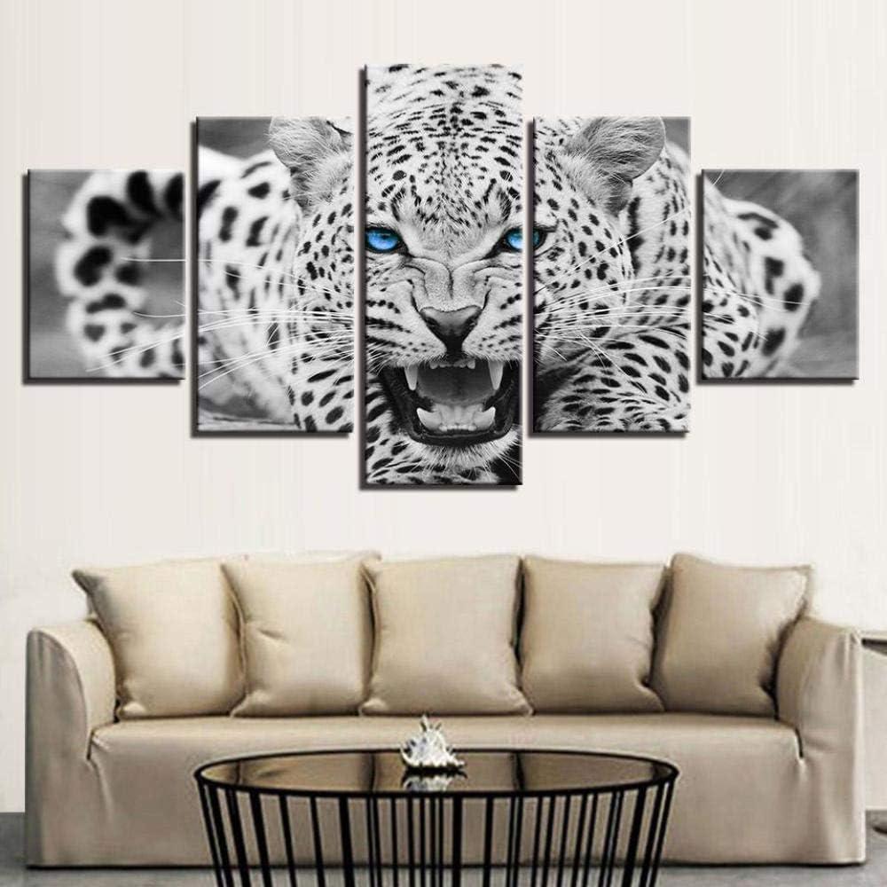 cuadros decoracion salon modernos 5 Piezas Lienzo Grandes XXL murales Pared hogar Pasillo Decor Arte Pared Cuadro Abstracto Estampado de leopardo azul Pintura HD Impresión Carteles Innovador Regalo