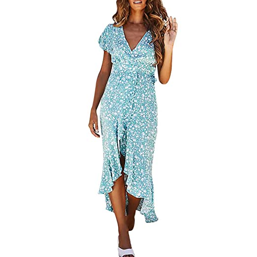 40463d3017077 Hurrybuy Women's Ruffles Floral Printed Dress,Short Sleeve Deep V Neck  Casual Loose Flowy Front
