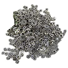 GraceAngie 100-Piece (100gm)Bali Style Deluxe Spacer Mix Metal Beads, Antique Silver,Jewelry Making