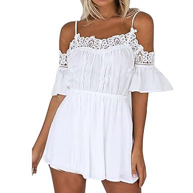 Blanc Et Chic Dénudées Été Épaules Femme Elégant Combinaison Yebiral oreBCxd