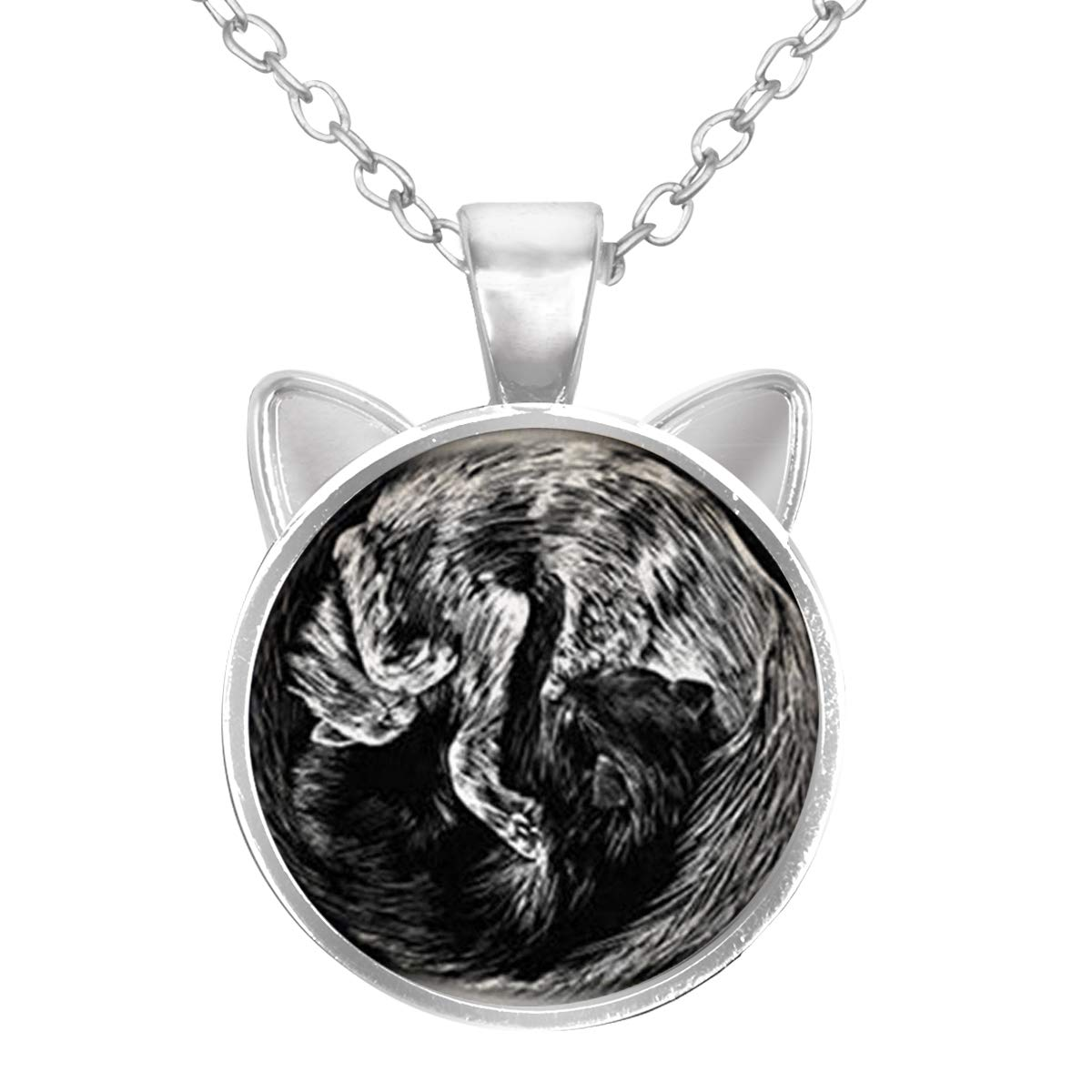 Black and Grey Cats LooPoP Cat Pendant Necklace Jewelry for Women Kids Gifts Included Free Charm Chain
