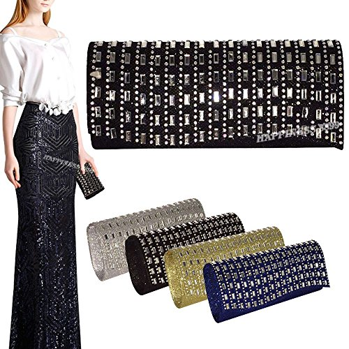 Black Pouch Women Wocharm Gold Bag Black Engagement Party Prom Bride Diamante Cocktail Purse Clutch 3 Wedding Lady Girl Evening Silver Bling ZqdxUqT