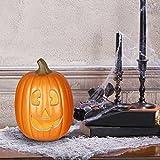 "Gemmy Lighted Jack-O-Lantern 12"" Smirking Pumpkin Halloween Decoration"