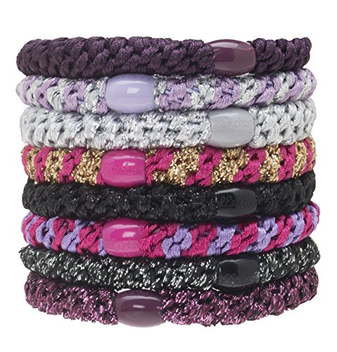 L. Erickson Grab & Go Ponytail Holders, Jenny, Set of Eight - Exceptionally Secure with Gentle Hold