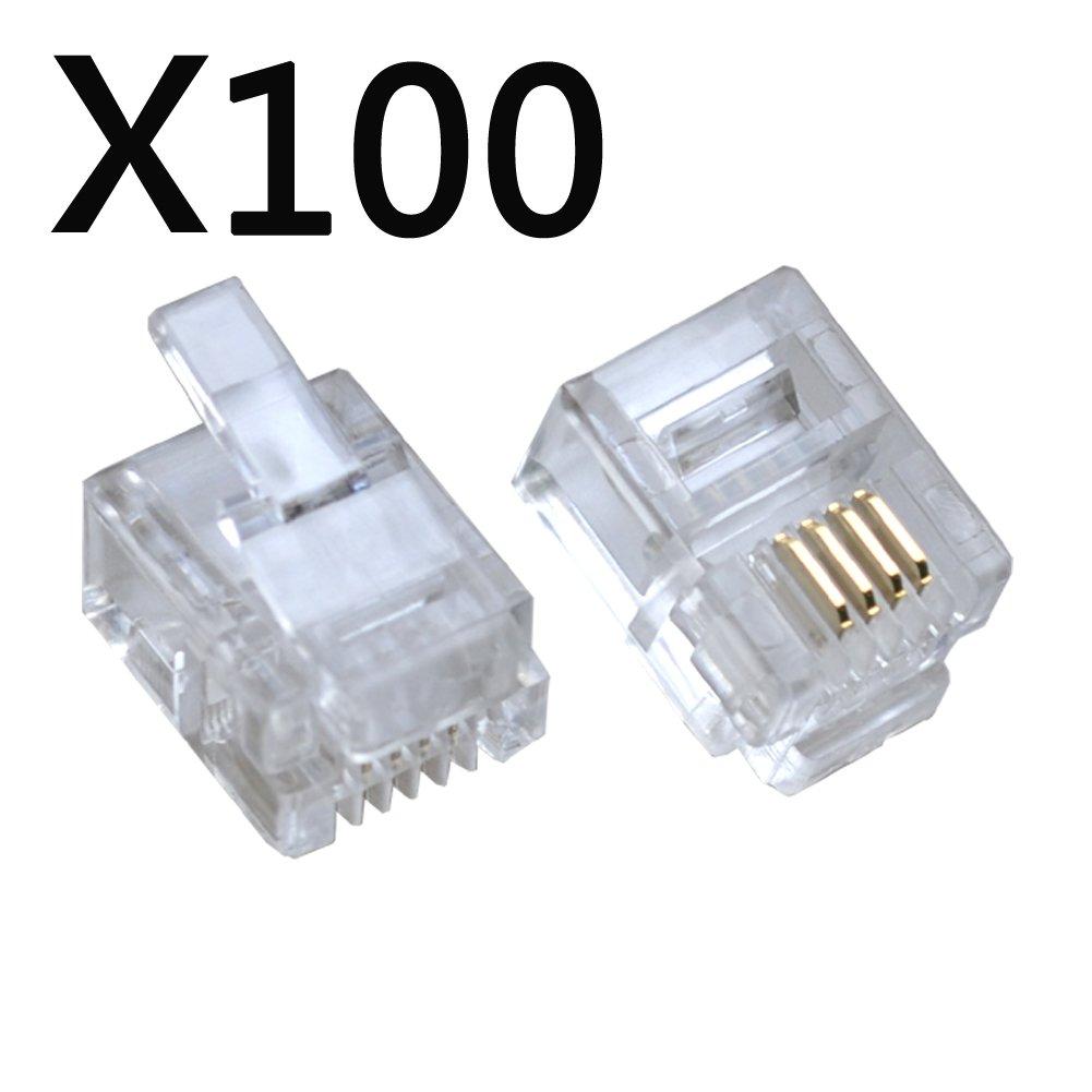Amazon.com: 100PACK Telephone Plug 6P4C RJ11 Modular Plug (6/4 ...