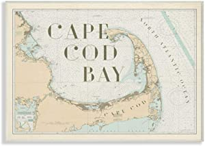 Stupell Industries Cape Cod Bay Beach Vintage Map Word, Design by Artist Daphne Polselli Wall Art, 13 x 19, Wood Plaque