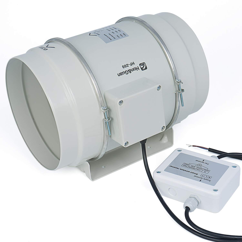 Hon/&Guan Extracteur A/érateur dair avec Minuterie /& Hygrostat Ventilateur de Conduit avec Contr/ôleur Intelligent /ø100mm
