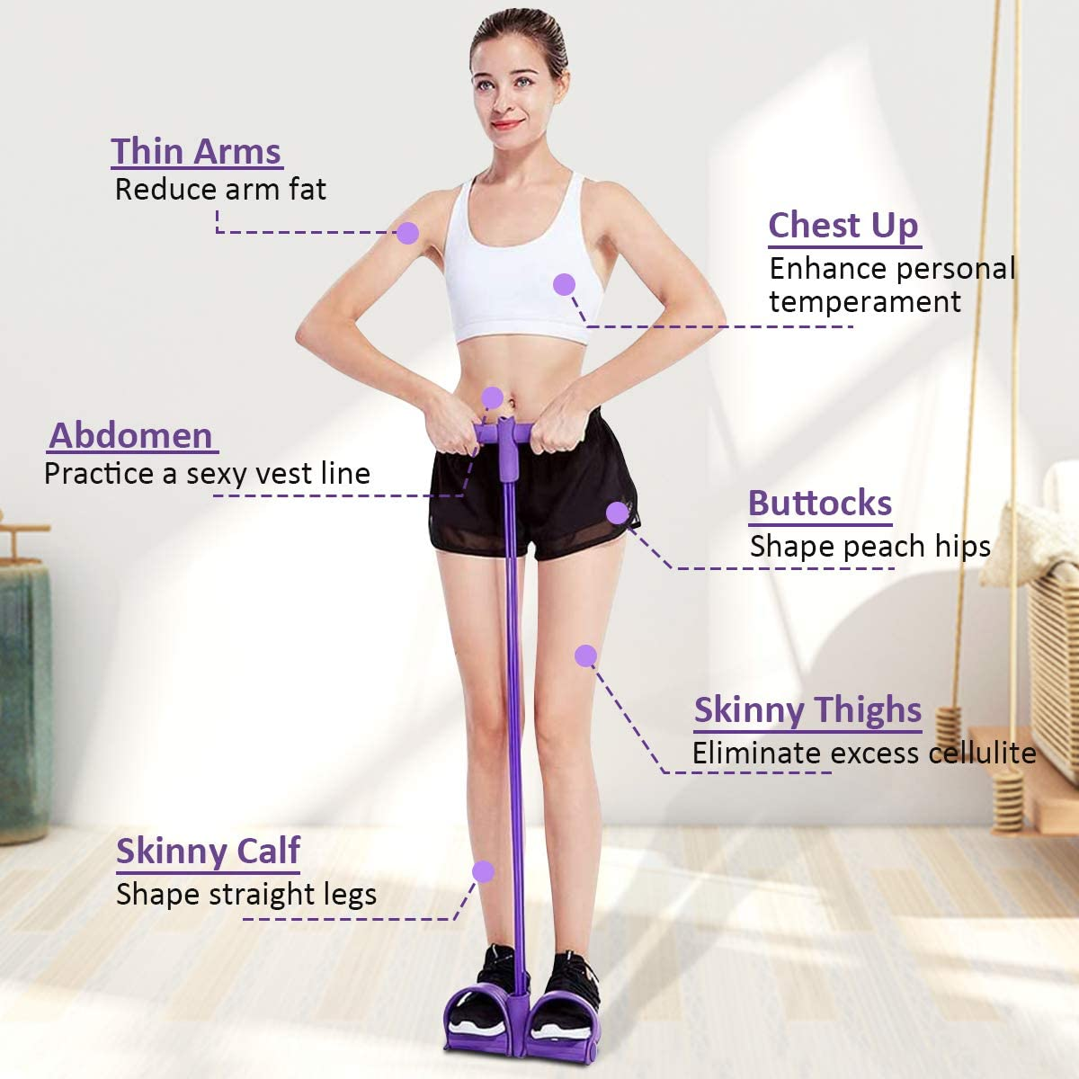 PullPritt Multifunktions Fitness Sit-up Trainings Seil Trainingsband mit Pedal Yoga Stretching Beintrainer Bauchtrainer Widerstand Trainingsger/ät Leg Exerciser mit 4 Tubes Elastische Zugseil