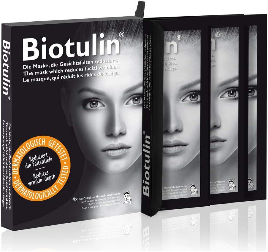 Biotulin Máscara Bio Facial de Celulosa - Pack de 4 - Ácido Hialuronico - Ingredientes Antiedad y Antiarrugas: Amazon.es: Belleza