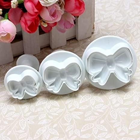 3 Pcs Bowknot Bow Cookie Biscuit Cake Cutter Fondant Plunger Mold Sugarcraft