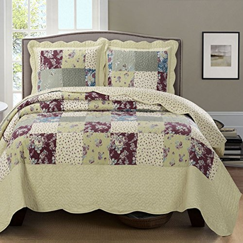 Tania King Size Over Sized Coverlet 3 PC Set Luxury Microfiber Printed Quilt