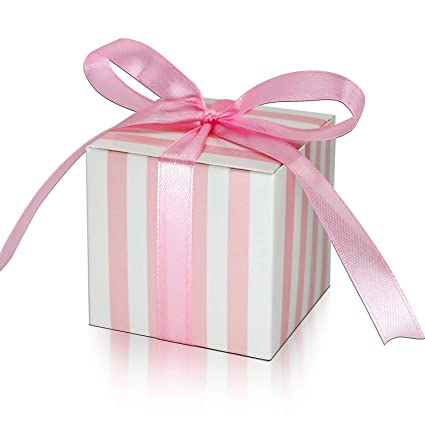 a5652946199d KPOSIYA 100 Pack Candy Boxes Pink and White Striped Favor Boxes 2 x 2 x 2  inch Small Gift Boxes with Ribbons for Wedding Favors Party Bridal Shower  ...