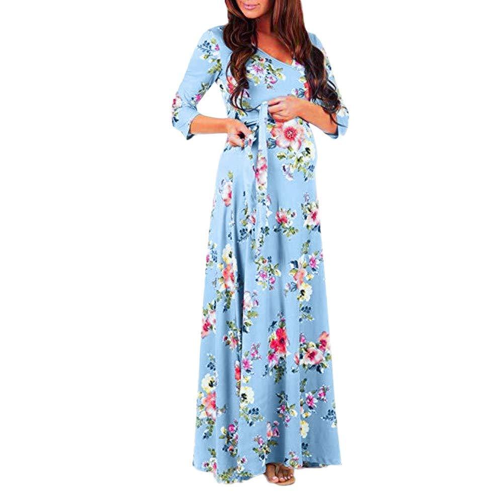 ALIKEEY_Abbigliamento premaman E L\'Allattamento al Seno Donne Casual Gravidanza Moda V Collare Vestito A Maniche Lunghe maternità Stampa Floreale Prendisole