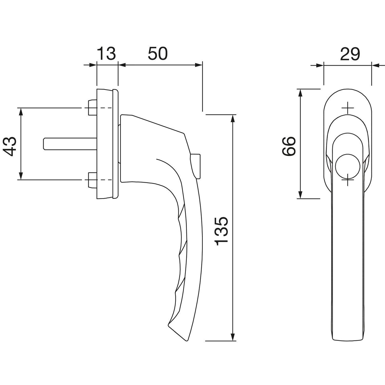 VK 7 x 37 mm HOPPE 11716824 Fenstergriff LI/ÈGE-Druckknopf wei/ß