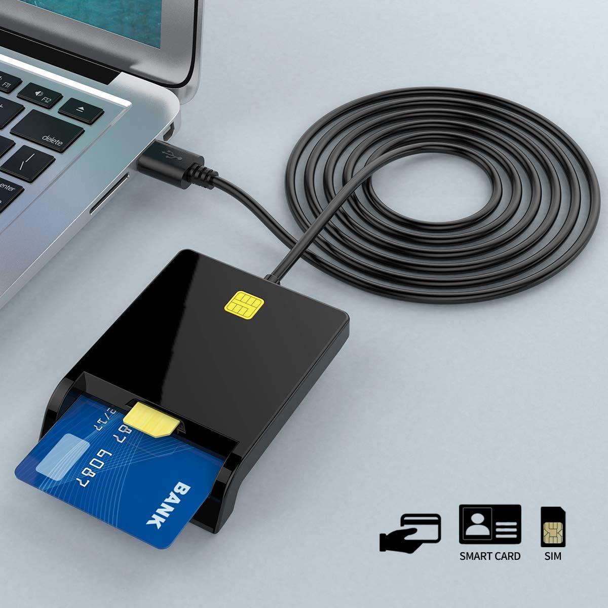 Mac OS DOD Militar USB Adaptador de lector de tarjetas CAC de acceso com/ún| Lector de tarjetas SIM lector de tarjetas CAC Compatible con Windows XP // Vista // 7//8//11 Lector de tarjetas inteligentes