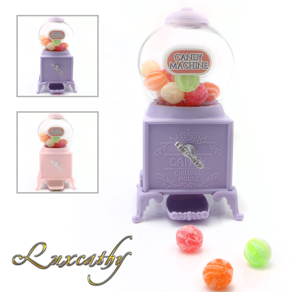 Luxcathy Gumball Bank Candy Dispenser Vending Machine for Party, Candy/Chocolate/Jelly Bean Storage, Gift - 7.2'' Height 3'' Wide (Purple)