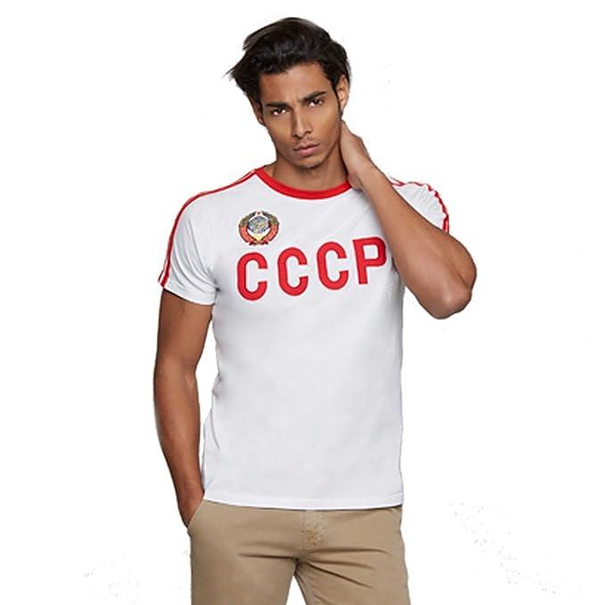 Coolligan 1975 CCCP Away, Camiseta para Hombre, Blanco (White), (Tamaño