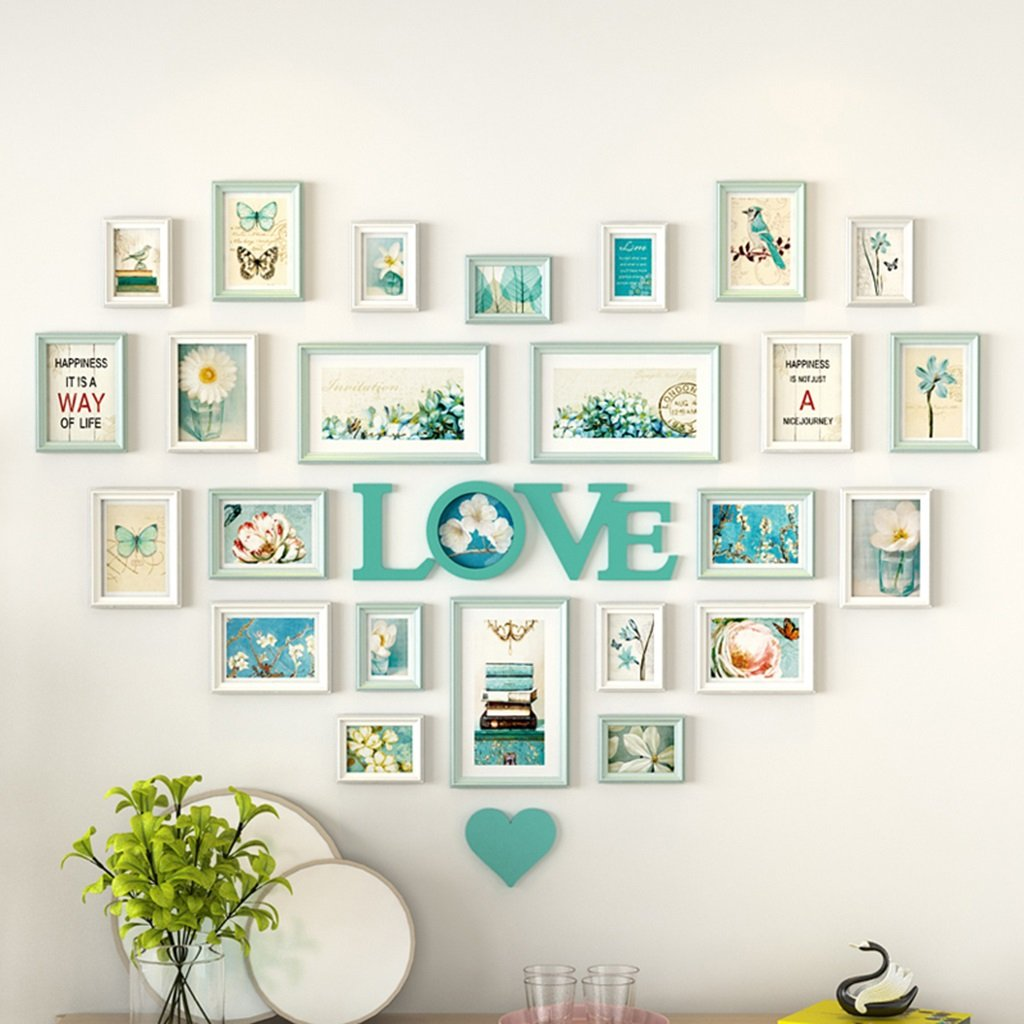 AXZPQ Wall Hanging Photo Frame Heart-shaped LOVE Collection Simple Modern Living Room Bedroom Picture Combination (Color : E)