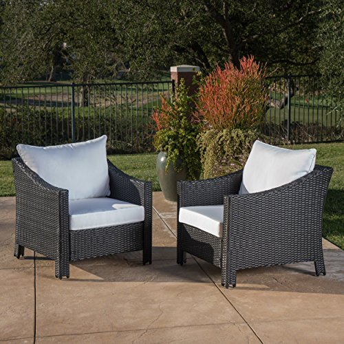 Great Deal Furniture Stonewell Outdoor Black Wicker Club Chairs with White Water Resistant Cushions (Set of 2) ()