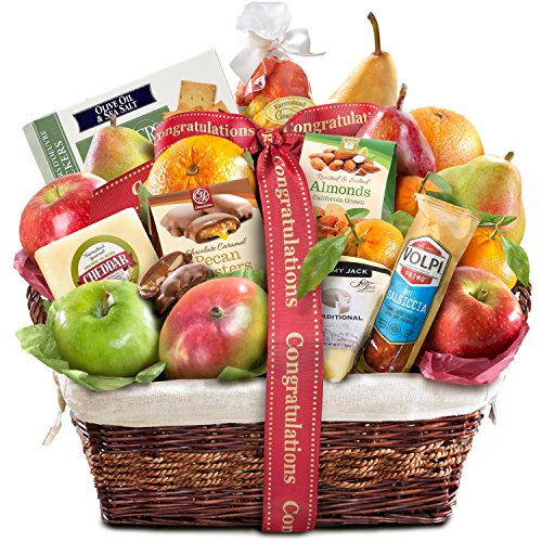 Golden State Fruit Gourmet Abundance Gift Basket, Congratulations