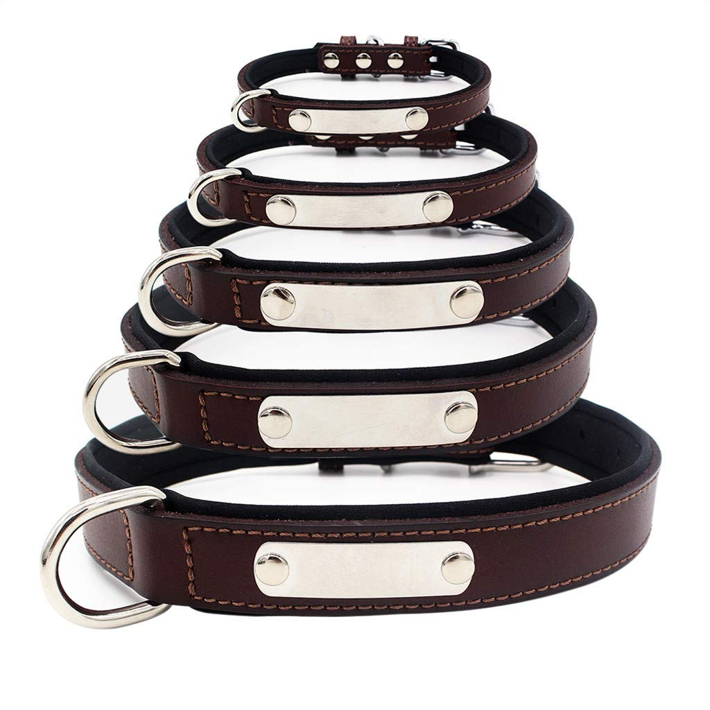 Pet1997 Fashion Dog Pet Cat Dog Collars Collar Stainless Steel Rounded Square Buckle Pet Collar Dog Cat Collar Stainless Steel Lettering Can Be Adjusted Cute Pet Necklacce (Brown, XS)