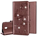 PHEZEN Galaxy J3 Pro 2017,Luxury Bling Rhinestone Soft Slim Flip Stand Wallet Case for Embossed Butterflies Floral Magnetic Bumper PU Leather Card with Mirror Cover for Samsung J3 Pro 2017,Brown