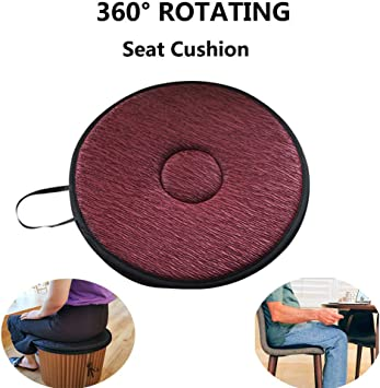 "ObboMed SS-2780 360/° Rotation Compact Portable Swivel Donut Seat Cushion with Non-Skid ABS Base and Washable Cover 1 PC Smaller Size 15/"" x 2/"" Hip Tailbone Pain Suffers Easy Movement for Back"