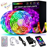 50ft Led Strip Lights, Tenmiro Smart Led Lights Strip Music Sync Color Changing Lights App Control and 23keys Remote, Led Lig