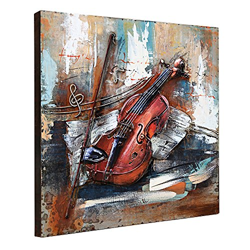 Asmork 3D Metal Art - 100% Handmade Metal Unique Wall Art - Stereograph Oil Painting - Home Decor - Ready to Hang Sculpture Artwork 3D Picture (Violin (24x24 inch))