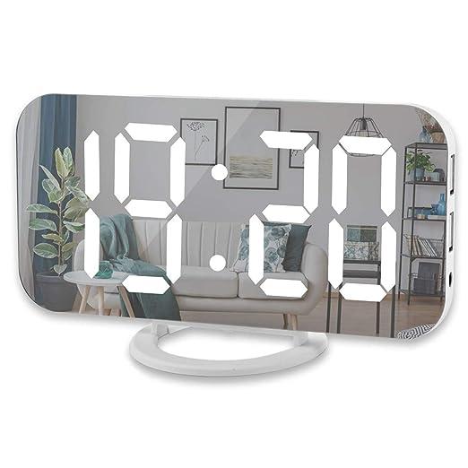 Sothat Reloj Despertador Digital, Pantalla Led Grande De 6 Pulgadas con Puertos Duales De Cargador USB Modo Auto Regulable Función, Reloj De Pared De Escritorio De Espejo Moderno: Amazon.es: Hogar